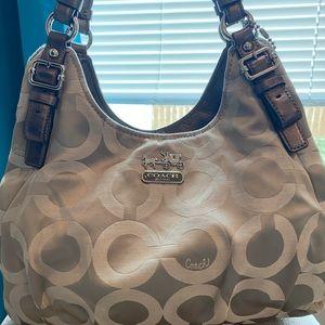 Coach Optic Silver canvas shoulder bag Purse